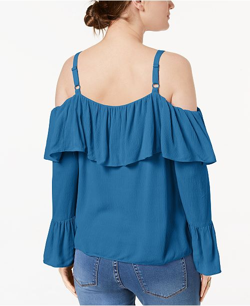 Blue Ruffled Created Shoulder INC International N Cold I Macy's Concepts Top for C Lyric SfBHRS