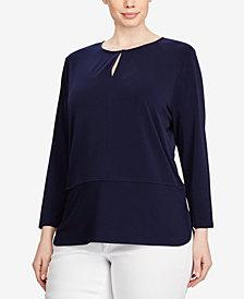 Lauren Ralph Lauren Plus Size Keyhole Top