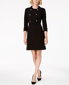 Ivanka Trump Rose-Gold-Tone Button Collared Dress