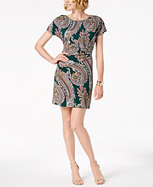Robbie Bee Petite Paisley-Print Sheath Dress