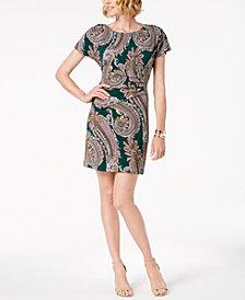 Robbie Bee Petite Paisley-Print Sheath Dress