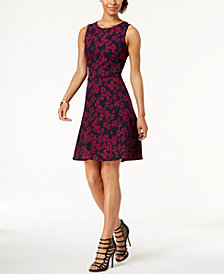 Tommy Hilfiger Floral Print Jacquard Fit & Flare Dress