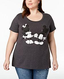 Disney Plus Size Mickey & Minnie Graphic-Print T-Shirt