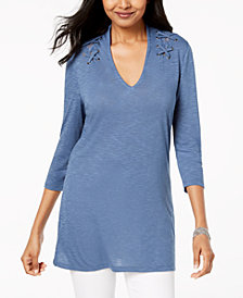 Love Scarlett Petite Grommet Lace-Shoulder Tunic