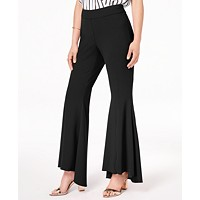 INC International Concepts I.N.C. Flared Women's High-Low Pants (Deep Black)