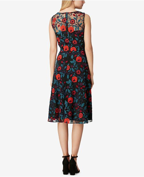 Sleeveless Floral Embroidered ASL Dress Floral Tahari Print Black FfZH1xq
