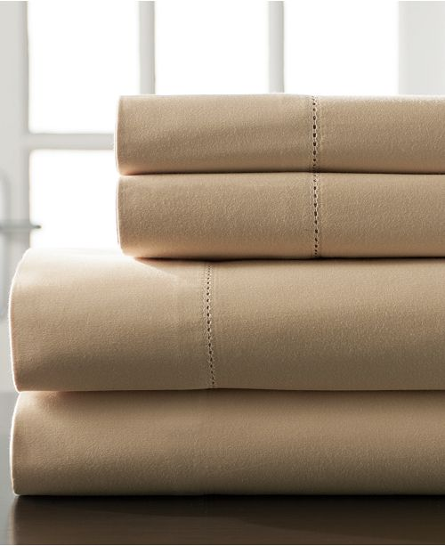 Elite Home Hemstitch Cotton 400 Thread Count 4 Pc Full Xl Sheet Set
