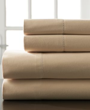 Hemstitch Cotton 400-Thread Count 4-Pc. White California King Sheet Set Bedding 6408724