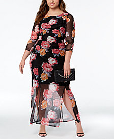 NY Collection Plus Size Printed Bodycon Maxi Dress