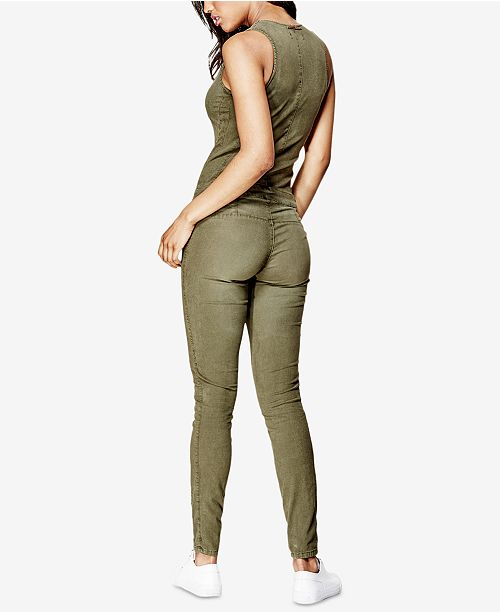 4360ad15c569 GUESS Maxine Ripped Zip-Up Denim Jumpsuit   Reviews - Pants   Capris ...