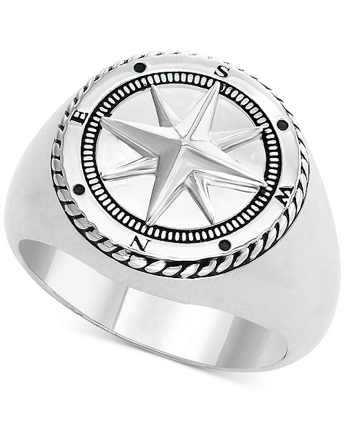 EFFY Collection EFFY® Men's Compass Ring in Sterling Silver