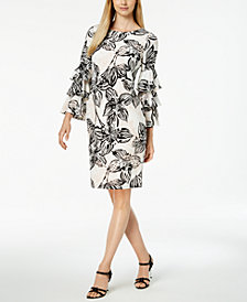 Calvin Klein Printed Tiered-Sleeve Dress