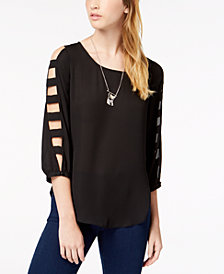 BCX Juniors' Cutout Necklace Top