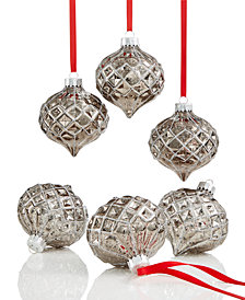 Holiday Lane 6-Pc. Dark Silver-Tone Diamond Onion Shatterproof  Ornament Set, Created for Macy's