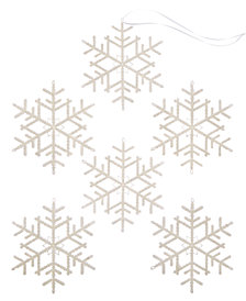 Holiday Lane Shatterproof White Snowflake Ornaments, Set of 6, Created for Macy's
