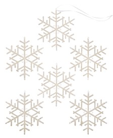 Holiday Lane Shine Bright Set of 6 Shatterproof White Snowflake Ornaments, Created for Macy's