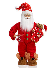 Holiday Lane Pajama Santa with Bear & Mug, Created for Macy's