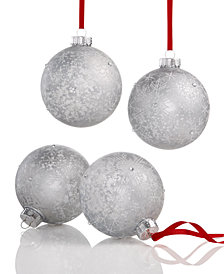 Holiday Lane Mercury Silver Balls with Snowflake Pattern, Set of 4, Created for Macy's