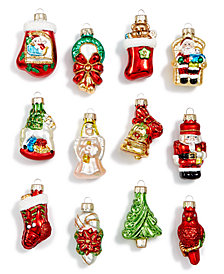 Holiday Lane Glass Christmas Cheer Icon Mini Ornaments, Set of 12, Created for Macy's