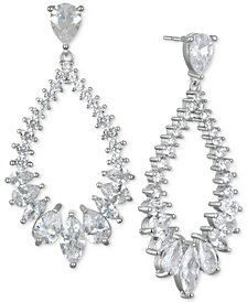 Jewel Badgley Mischka Silver-Tone Cubic Zirconia Drop Earrings