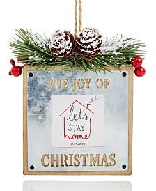 "Holiday Lane Christmas Cheer Tin and Wood ""The Joy of Christmas"" Photo Frame Ornament Created For Macy's"