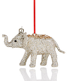 Holiday Lane Plastic Glitter Elephant Ornament, Created for Macy's