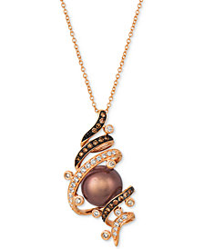 "Le Vian® Chocolate Pearl® (9mm) & Diamond (3/8 ct. t.w.) 20"" Pendant Necklace in 14k Rose Gold"