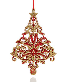 Holiday Lane Red Glitter Tree Ornament, Created for Macy's