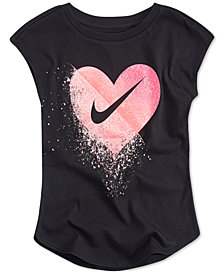 Nike Little Girls Glitter Swoosh Graphic-Print T-Shirt