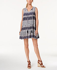 John Paul Richard Petite Tassel-Tie Printed Peasant Dress