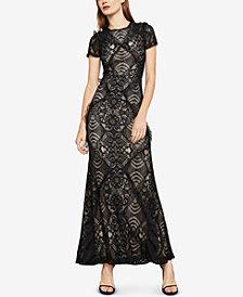 BCBGMAXAZRIA Short-Sleeve Lace Maxi Dress