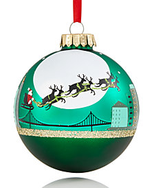 Holiday Lane San Francisco Green Glass Ball Ornament with Flying Reindeer & City Skyline, Created for Macy's