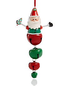 Holiday Lane Santa with Iron Jingle Bell Dangles Ornament, Created for Macy's