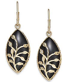 Onyx Marquise Vine Drop Earrings in 14k Gold