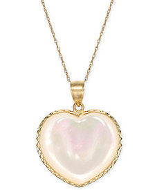 "Mother-of-Pearl Heart 18"" Pendant Necklace in 14k Gold"