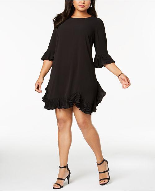 MSK Plus Size Pleated Ruffle Dress & Reviews - Dresses ...