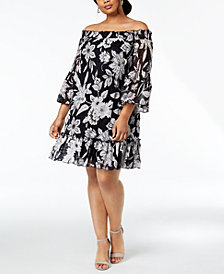 Robbie Bee Plus Size Off-The-Shoulder Lace Dress