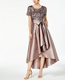 R & M Richards Petite Sequined & Satin High-Low Gown