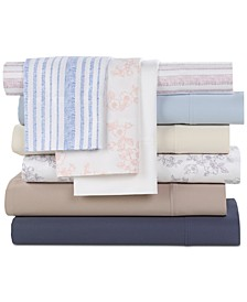 Solid and Printed Organic 4-Pc. Sheet Sets, 500 Thread Count GOTS Certified Cotton