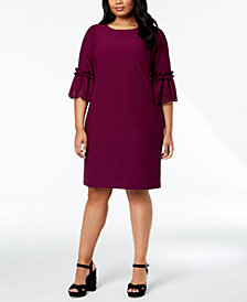 Jessica Howard Plus Size Laser-Cut Bell-Sleeve Dress