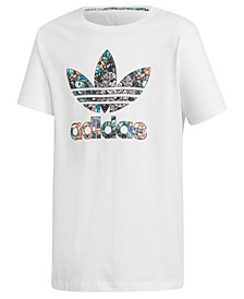 adidas Originals Big Girls Zoo-Print Logo Cotton T-Shirt