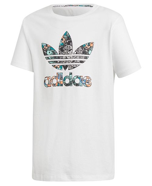 big sale 32db6 9c90d ... adidas Big Girls Zoo-Print Logo Cotton T-Shirt ...