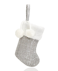 Holiday Lane Mini Silver-Tone Stocking Ornament, Created for Macy's