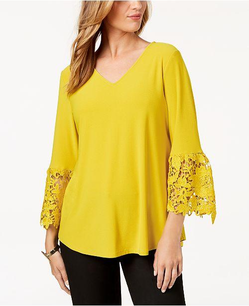 Golden Alfani Macy's for Top Sleeve Sun Bell Created Lace CC0qA