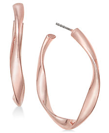 Charter Club Rose Gold-Tone Twist Hoop Earrings, Created for Macy's