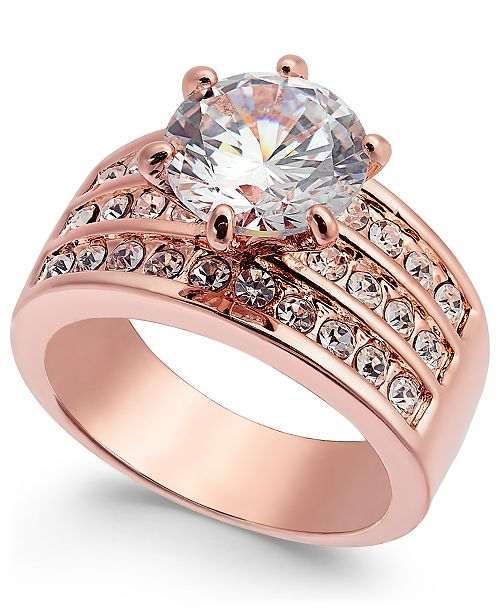 Charter Club Rose Gold-Tone Crystal Triple-Row Ring, Created for Macy's