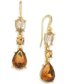Charter Club Gold-Tone Teardrop Stone Drop Earrings, Created for Macy's