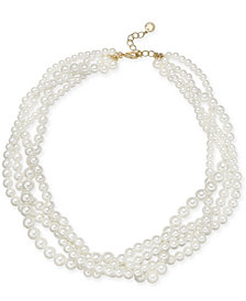 "Charter Club Gold-Tone Imitation Pearl Multi-Strand Torsade Necklace, 17"" + 2"" extender, Created for Macy's"