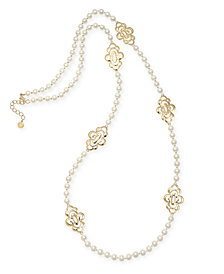 "Charter Club Gold-Tone Openwork Flower & Imitation Pearl Station Necklace, 42"" + 2"" extender, Created for Macy's"