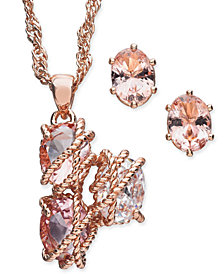"Charter Club Rose Gold-Tone Wrapped Crystal Pendant Necklace & Stud Earrings Set, 15"" + 3"" extender, Created for Macy's"